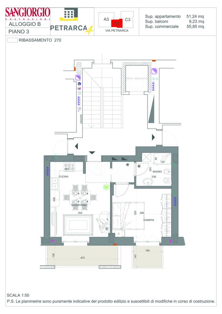 Appartamento b 3 sangiorgio costruzioni spa for B b soggiorno petrarca